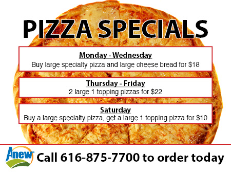 Anew pizza specials